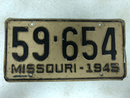 DMV Clear 1945 MISSOURI Passenger License Plate YOM Clear 59-654 MO