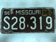 DMV Clear September 1954 Tag MISSOURI Passenger License Plate YOM Clear S28-319 MO