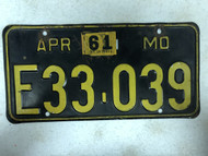 DMV Clear April 1956-1961 MISSOURI Passenger License Plate YOM Clear E33-039 MO