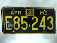 DMV Clear April 1956-1961 MISSOURI Passenger License Plate YOM Clear E85-243 MO