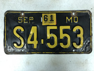 September 1956-1961 Tag MISSOURI Plate License Plate S4-553