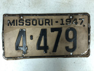 1947 MISSOURI Shorty License Plate 4-479