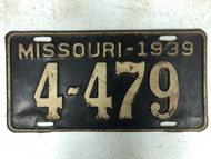 1939 MISSOURI Shorty License Plate 4-479