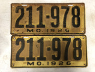 PAIR of DMV Clear 1926 MISSOURI Passenger License Plates YOM Clear 211-978 MO