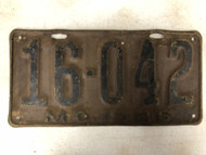 DMV Clear 1926 MISSOURI Shorty License Plate YOM Clear 16-042 MO