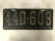 DMV Clear 1925 MISSOURI License Plate YOM Clear 440-609 MO