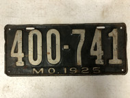 DMV Clear 1925 MISSOURI License Plate YOM Clear 400-741 MO