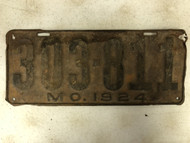 DMV Clear 1924 MISSOURI Passenger License Plate YOM Clear 303-811 MO