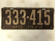 DMV Clear 1922 MISSOURI Passenger License Plate YOM Clear 333-415 MO