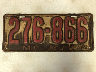 DMV Clear 1921 MISSOURI Passenger License Plate YOM Clear 276-866 MO