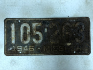 DMV Clear 1946 MISSOURI Passenger License Plate YOM Clear 105-263 MO