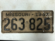 DMV Clear 1947 MISSOURI Passenger License Plate YOM Clear 263-825 MO