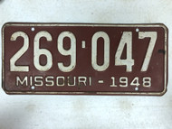 DMV Clear 1948 MISSOURI Passenger License Plate YOM Clear 269-047 MO