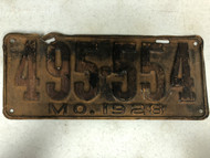 DMV Clear 1928 MISSOURI Model A Ford Passenger License Plate YOM Clear 495-554 MO