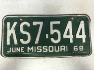 DMV Clear June 1968 MISSOURI Passenger License Plate YOM Clear KS7-544 MO