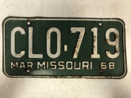 DMV Clear March 1968 MISSOURI Passenger License Plate YOM Clear CL0-719 MO