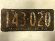 DMV Clear 1932 MISSOURI Passenger License Plate YOM Clear 143-020 MO