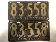 PAIR of DMV Clear 1933 MISSOURI Shorty Passenger License Plates YOM Clear 83-558 MO