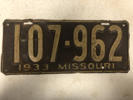DMV Clear 1933 MISSOURI Passenger License Plate YOM Clear 107-962 MO