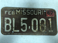 DMV Clear February 1967 MISSOURI Passenger License Plate YOM Clear BL5-001 MO