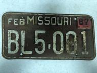 DMV Clear February 1967 MISSOURI Passenger License Plate YOM Clear BL5-001 MO & Larryu0027s License Plates