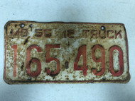 DMV Clear 1956 MISSOURI 12 Ton Truck License Plate YOM Clear 165-490 MO