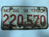 DMV Clear 1956 MISSOURI 18 Ton Truck License Plate YOM Clear 220-570 MO