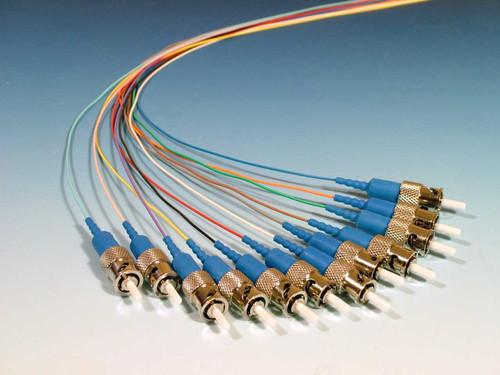 6 Color Coded Singlemode ST (UPC) Pigtails