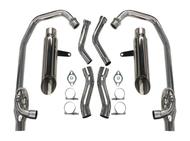 MaxFlow StreetPro 4-2 Exhaust w/ Slash Cut Mufflers - Silver Ceramic Coated (85-07 All)