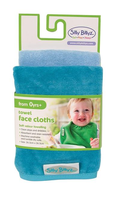 Aqua/Sky Blue Towel Face Washer 2pk