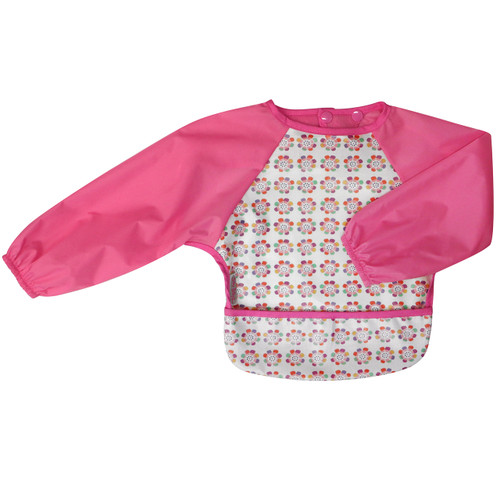 Wipe Clean Long Sleeve Bib Pansy