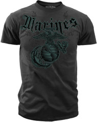 "Men's Marines T-Shirt - Marines ""Engraved"" Vintage Black"