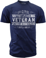 Men's T-Shirt - Original Veteran - 7 Days a Week Vintage Veteran shirt for Army, Marines, Navy, Air Force, and Coast Guard - Blue