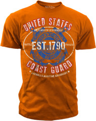 "Men's Coast Guard T-Shirt - U.S. COAST GUARD ""BATTLED FORGED"" - Orange"