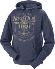 Men's and Lady's Navy Hoodie - Once a Chief Retro US Navy Sweatshirt