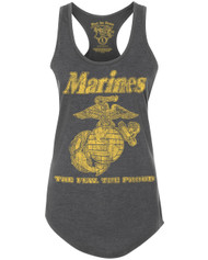 Lady's Racerback T-Shirt - US Marines The Few The Proud Retro Women's USMC - Charcoal Heather