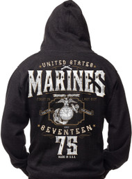 Men's Marines T-Shirt - US Marines - Seventeen Seventy Five USMC Hoodie- Back