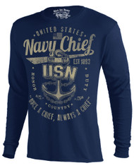 Men's Navy Long Sleeve T-Shirt - Once a Chief Retro US Navy