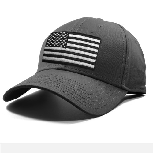 United States Flag, Embroidered Cap Gray