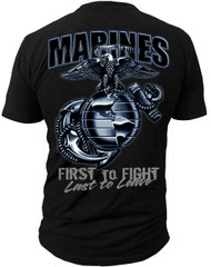 Men's Marines T-Shirt - EG & A Marines USMC - Black - Back