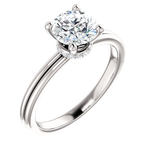 14Kt White Gold Round Diamond Accent Ring