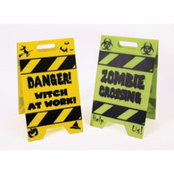 Mini Witch & Zombie Warning Signs