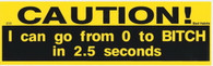 Caution Can go From 0 to Bitch in 2.5 Seconds Bumper Sticker #233