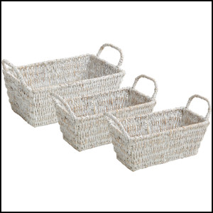 Whitewash, 3 Piece Shelf Basket Set w/ Handles
