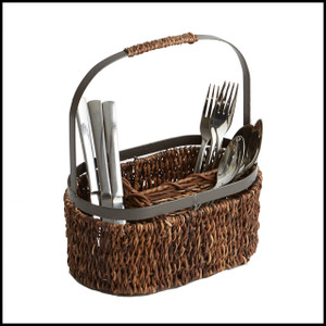 *Save 10% Off* Abaca with Metal Trim, Oval Flatware Caddy, 11-Inch