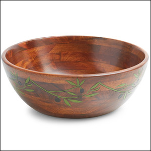 Engraved Bowl Collection, Large Olive Branch Salad Bowl, 14-Inch