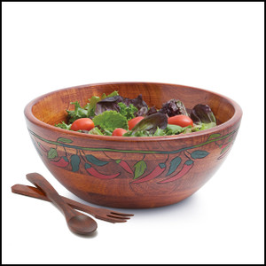 Engraved Bowl Collection, 3 PC Chili Pepper Bowl Set, 12-Inch