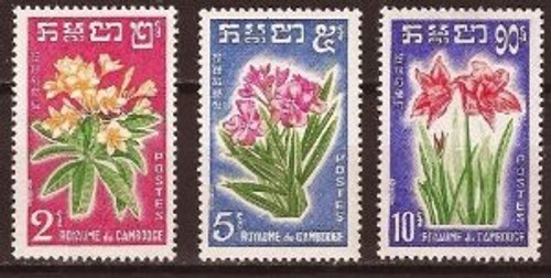 Cambodia Stamps - 1961 , Sc 91-3 Flowers, MNH, F-VF - (9A01K)