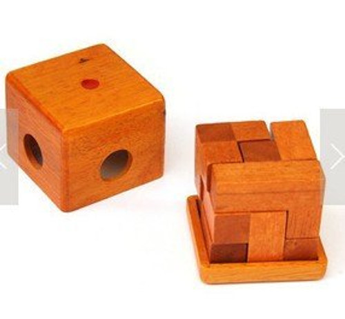 "Wooden Kongming Lock Puzzle - size: 2.5"" x 2.5"" x 2.5"" (WXQ1)"