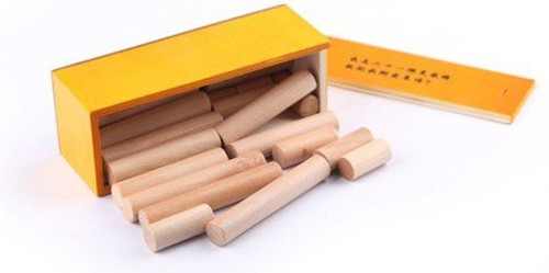 "Wooden Kongming Lock Puzzle - Box Size: 1.75"" x 2.0"" x 5.5"" (WXQ2)"